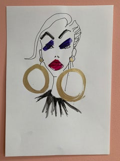 Gold Hoops Abstract Female Drawing