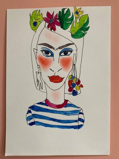 Kahlo Karen Abstract Female Drawing Series water colour