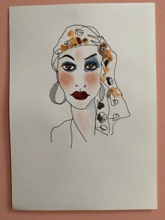 Leopard scarf -  Abstract Female drawing Series water colour emerging artist