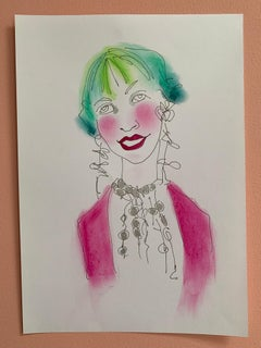 Momtaz Abstract Female Drawing Series water colour signed emerging artist