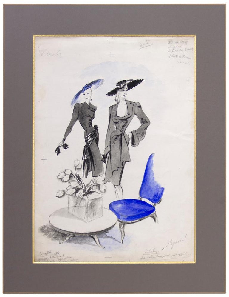 Jacques Fath and Lucien Lelong Fashion Illustration For Sale 1