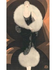 Revillon Freres: Woman in black fur cape.