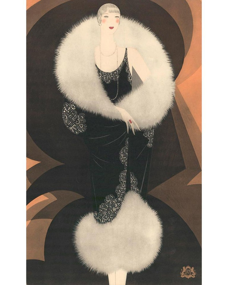 Original lithograph, printed in color on paper. Produced as part of a portfolio of images by Reynaldo Luza for the Parisian fur house,  Revillon Freres. Paris, Draeger for Revillon Frères, ca. 1927. Framed in a custom wood frame, stained ink black