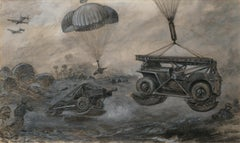 Illustration of landing anti-tank guns and jeeps by parachute.