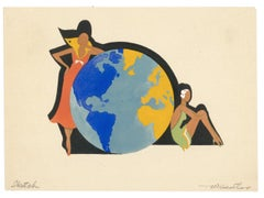 Two Women with a Globe Gouache