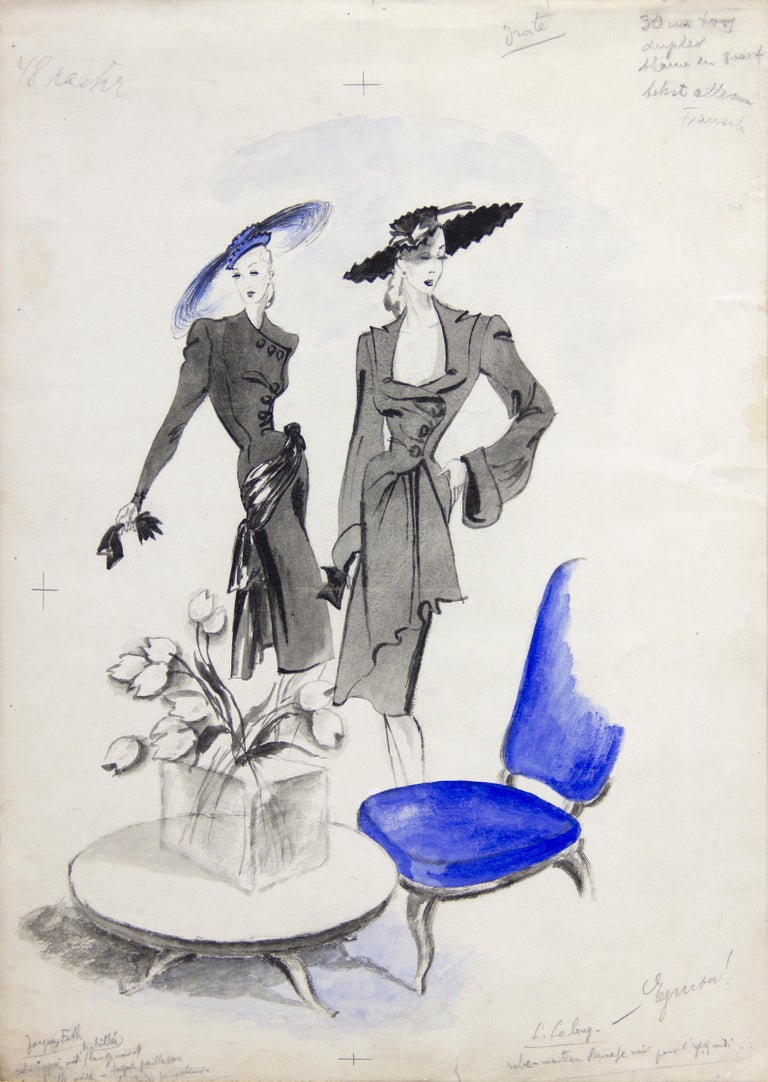 Jacques Fath and Lucien Lelong Fashion Illustration For Sale 2