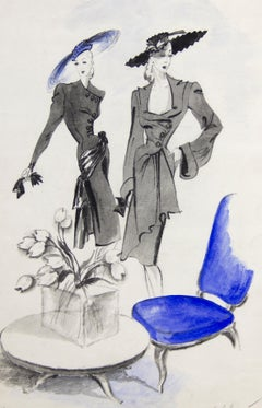Jacques Fath and Lucien Lelong Fashion Illustration