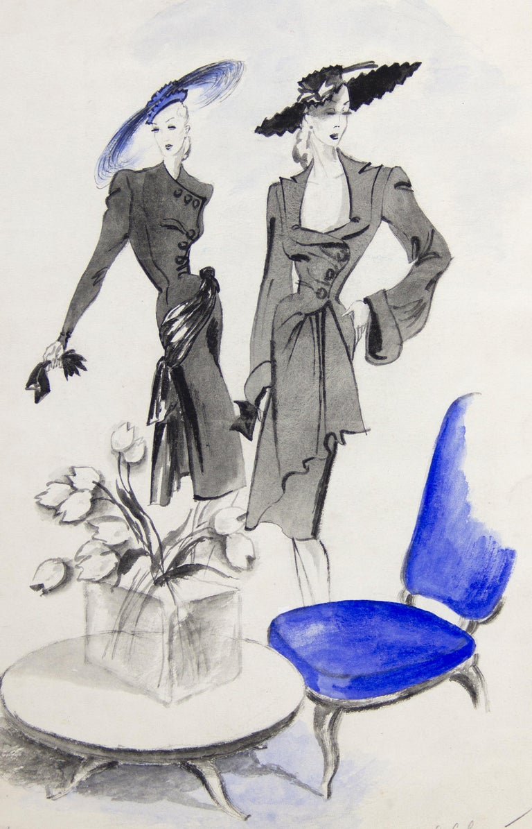 Original ink and gouache drawing on paper, in gray mat. Original fashion illustration for a french magazine. Publishes notes in pencil in margins. Mat size: 22 7/8 x 17 5/8 in.