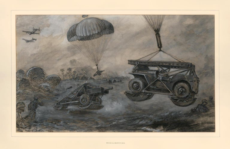 Illustration of landing anti-tank guns and jeeps by parachute. For Sale 1