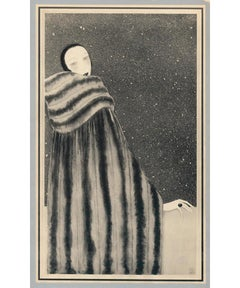 Revillon Freres: Woman in fur cape with starry background