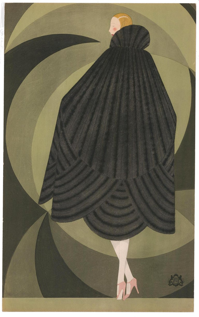 Reynaldo Luza Figurative Print - Revillon Freres: Woman in a Black Fur Cape