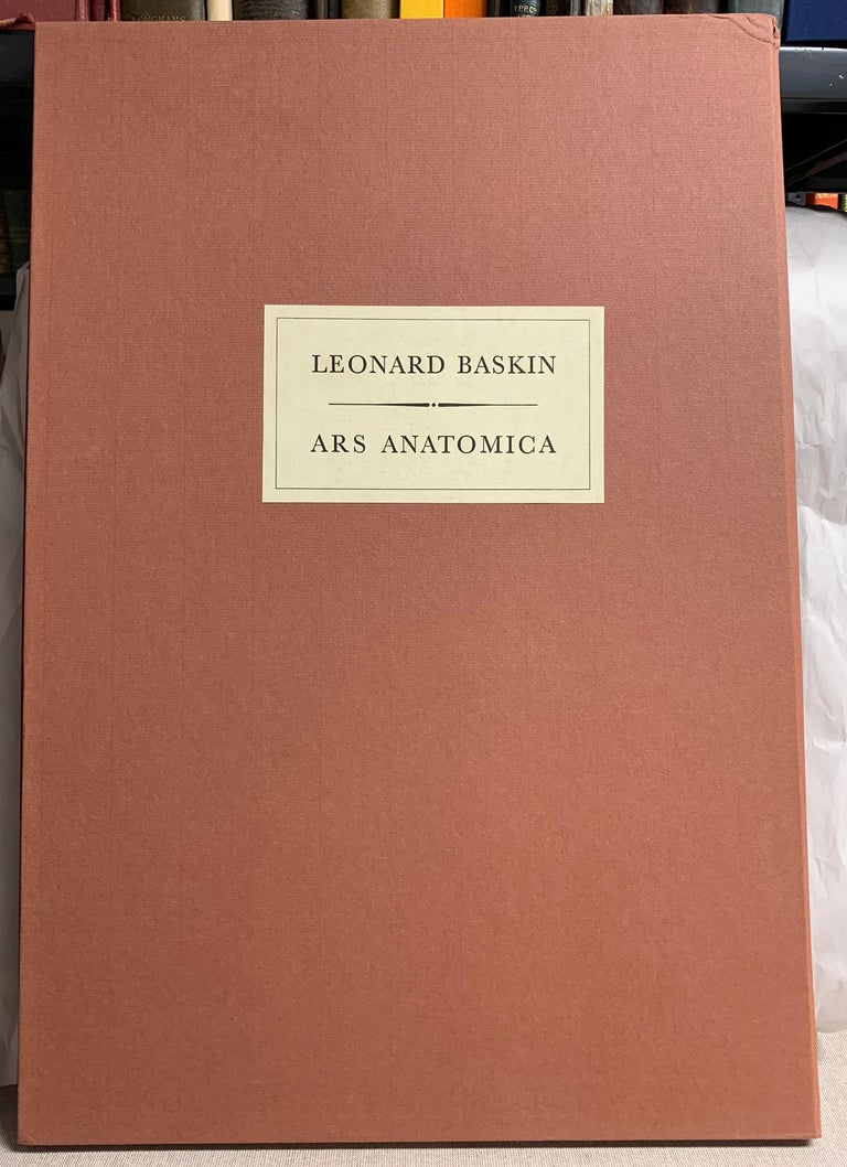Illustrated with 13 drawings by Leonard Baskin.  Large Folio in cloth-backed portfolio in cardboard slipcase.  New York: Medicina Rara, 1972.    One of 2500 copies (there were 300 copies with two extra suites of the plates).  The colophon signed by