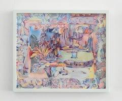 Giverny, Pond, Sarah Ann Weber, Figurative Abstraction, Artist's Frame, Pastel