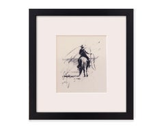 Roping at Chico Basin (Study) (charcoal, cowboy, horse, lasso, western)