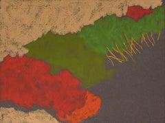 DR-19011 (oil pastel, toned paper, landscape, vibrant colors)