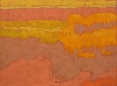 DR-19026 (landscape, fall colors, oil pastel, toned paper)