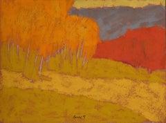DR-19028 (landscape, abstract, oil pastel, toned paper, vibrant colors)