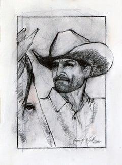 Cowboy Study (Cowboy, horse, western, charcoal, black & white)