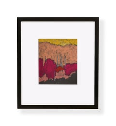 DR-20011 (oil pastel, toned paper, landscape, yellow, salmon, magenta, red)