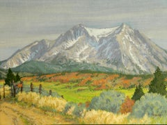 Posted Mt. Sopris (contemporary western landscape watercolor of 14,000 ft. peak)