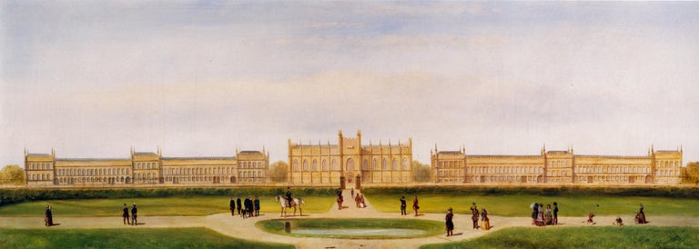 L. Hoen (19th century) A panoramic view of a German neo-Gothic palace with a figure on horseback being saluted by uniformed officers, and with elegant figures promenading in a park Signed Oil on canvas 36 x 96 cm (14 1/8 x 37 3/4 in)