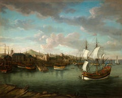 Jan Griffier - A landscape view of Dundee harbour with ships, Scotland