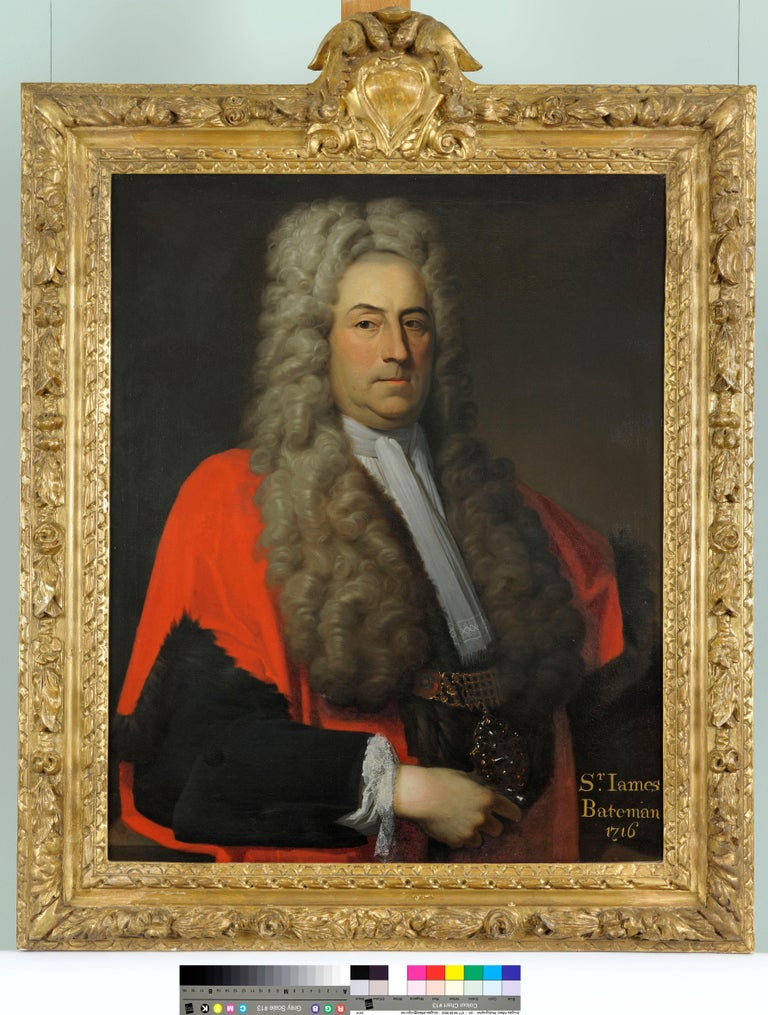 Head and shoulders portrait of Sir James Bateman in his robes as Lord Mayor of London  Oil painting on canvas 36 x 28 inches, and contained in its original  superb carved and gilded 'oak-leaf and acorn' frame, surmounted by an armorial cartouche.