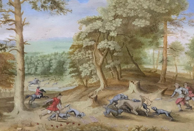 Flemish School Animal Painting - A stag hunt