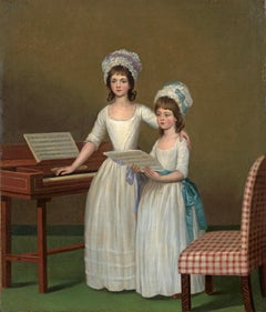 Portrait of two sisters standing by a square piano preparing to sing