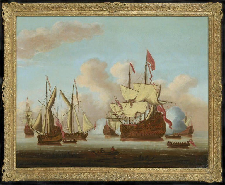 Cornelius van der Velde Landscape Painting - A ship of the line of the Red Squadron firing a salute among various yachts