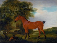 "An Egyptian Pony, ""Whisperer"" with two Irish Terriers and a goat in a landscape"