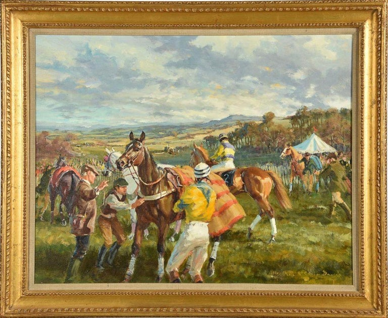 Heather St. Clair Davis (British 1937-1999) Stand, dammit ! Oil on canvas Signed lower right  55.5 x 71cm (21¾ x 27¾ in.)  Heather St Clair Davis was one of the most gifted artists and skilled horsewomen of her era. Born in Whittington, in the
