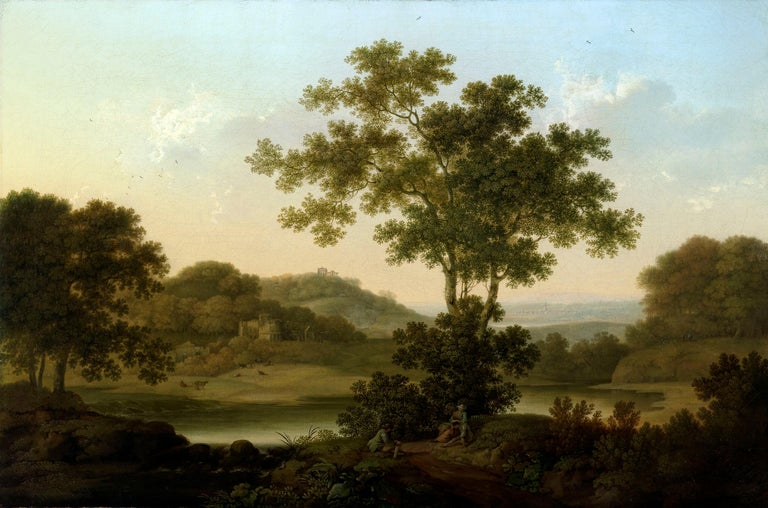 George Smith of Chichester (1714-1776) A wooded landscape with  a country house, classical ruins on a distant hill, and three travellers resting in the foreground Oil painting on canvas 25 x 38 inches  in a fine carved and gilded frame Signed lower