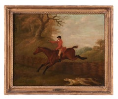 The Whipper-In bringing up the fox hounds