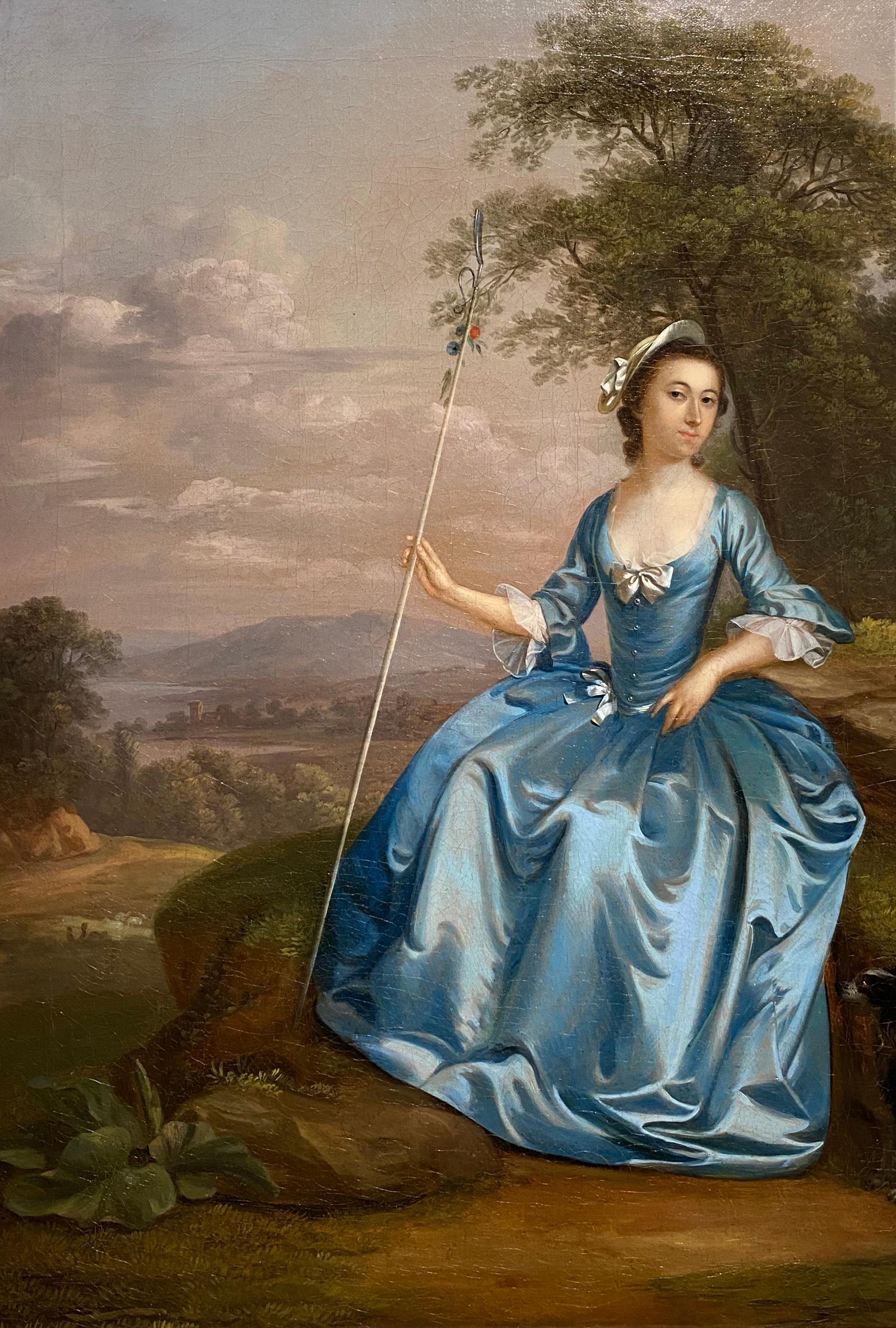 Portrait of Mrs Bates as a shepherdess, seated in a landscape