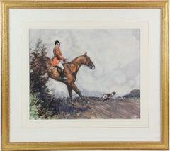 A huntsman jumping a hedge