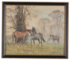 'A misty morning' - Horses in a landscape