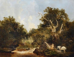 A landscape with a huntsman stalking deer on a river bank