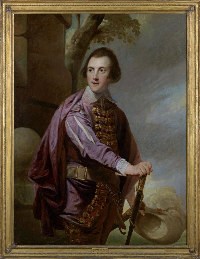 "Robert Edge Pine 1733-1788 Three quarter length portrait of Sir John Taylor FRS, 1st Bart., (1745-1786) wearing 'Van Dyck"" dress and holding his feathered hat and a walking-caneOil painting on canvas in period frame 127 x 101.6 cm 50 x 40"