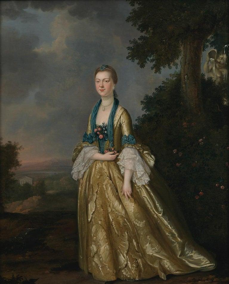 Portrait of a Lady in a landscape - Painting by John S. C. Schaak