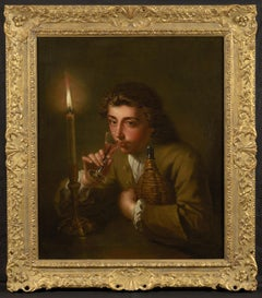 Portrait of a youth drinking by candlelight from a glass, and holding a flask