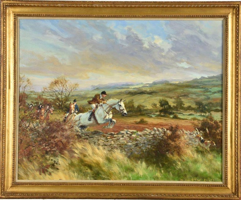 Heather St. Clair Davis (British 1937-1999) A Great Run Oil on canvas  Signed lower right  60.5 x 76.5cm (23¾ x 30 in.)  Heather St Clair Davis was one of the most gifted artists and skilled horsewomen of her era. Born in Whittington, in the