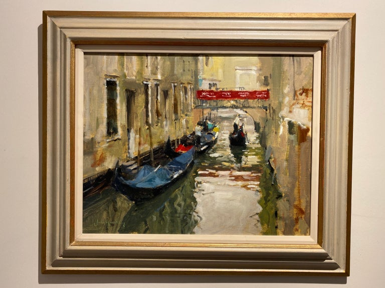A Venetian Backwater - Brown Landscape Painting by John Yardley