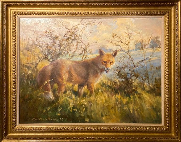 "Heather St. Clair Davis Landscape Painting - ""Fox Alert"" by Heather St. Clair Davies"