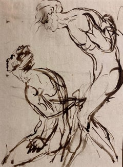 Portrait sketch - figurative studies of a nude male