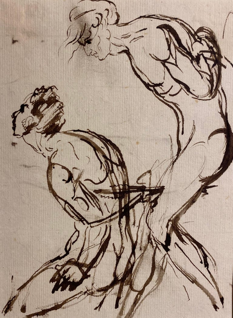 William Locke the Younger Figurative Art - Portrait sketch - figurative studies of a nude male