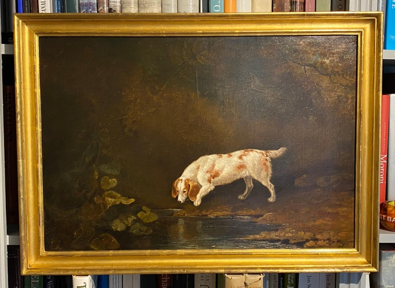 A spaniel by a pond in a woodland landscape - Painting by Edwin Cooper