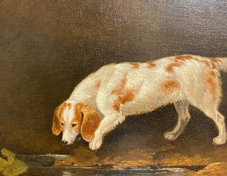 A spaniel by a pond in a woodland landscape - Brown Animal Painting by Edwin Cooper
