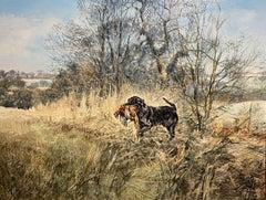 The Retrieve - A Labrador retriever in a landscape