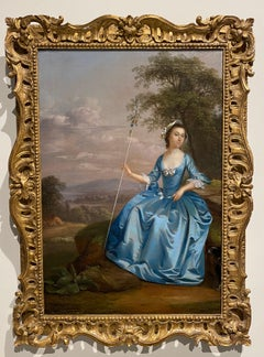 Portrait of Mrs Bates as a shepherdess, seated, in a blue dress